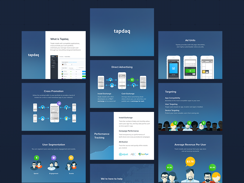 Tapdaq - Product Deck powerpoint presentation product dark dashboard profile graph deck web summary ui keynote