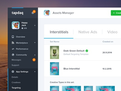Tapdaq - Assets Manager WIP ui summary stats web apps table graph profile dashboard dark landing performance