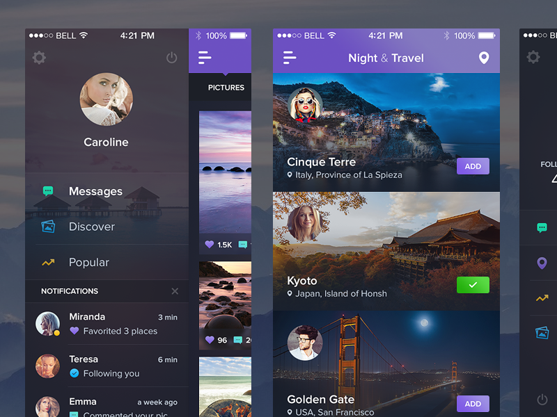 Night&Travel - New Screens ui dark illustration gallery filter navigation menu freebie flat travel feed ios