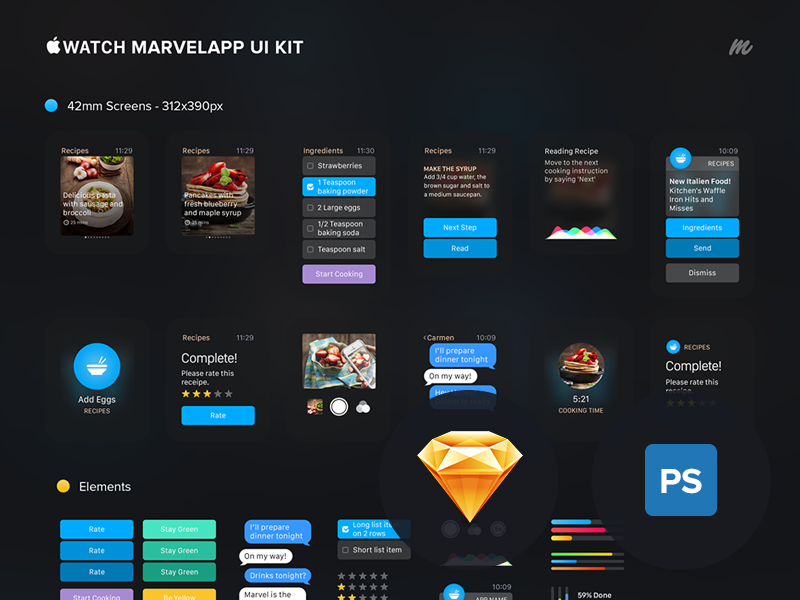 Apple Watch Marvelapp Ui Kit ui graph prototype marvel food apple free gui freebie kit sketch watch