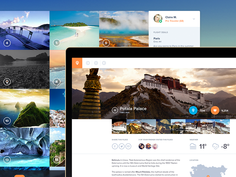 Placeist - Behance Project pictures travel ui web apps table profile dashboard behance landing performance