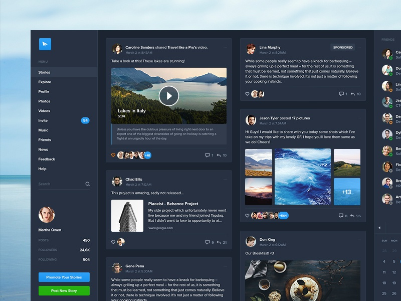 Dark Stories ui kit post dark dashboard profile graph network apps web overview social ui