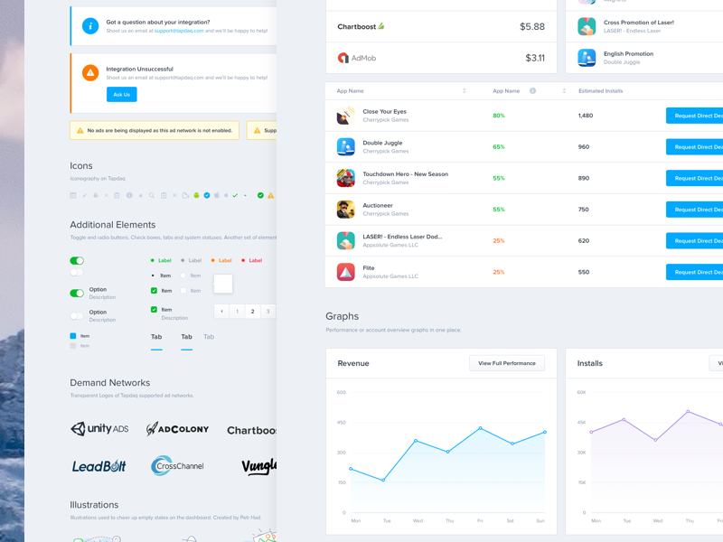 Tapdaq - UI Overview (Part 2) dashboard dark styleguide ui kit guidelines sketch medium design product wireframe process article