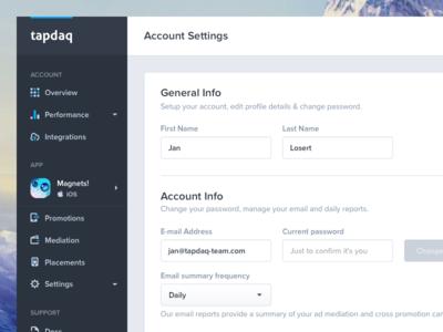 Tapdaq - Account Settings