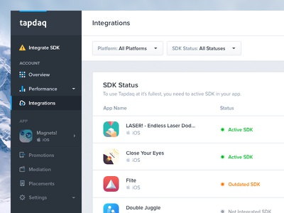 SDK Overview ui summary stats time export table graph profile dashboard app ios performance