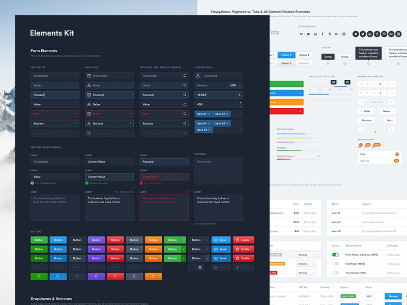 (Freebie) Dashboard UI Kit - Elements ui clean manager web apps table graph profile dashboard dark styleguide ui kit