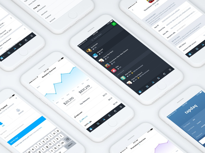 Tapdaq - Responsive / iOS Research ui summary stats time export table graph profile dashboard app ios performance