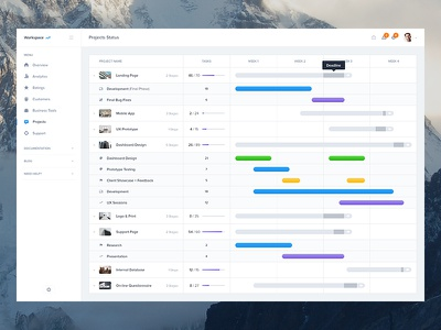 Projects Status - Dashboard UI Kit Update ui calendar overview status schedule event graph profile dashboard menu timeline ui kit