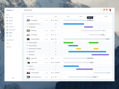Projects Status - Dashboard UI Kit Update ui calendar overview status schedule event graph profile dashboard menu timeline ui kit