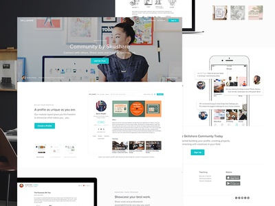 Community by Skillshare white profile product landing ios elearning dashboard community clean skillshare