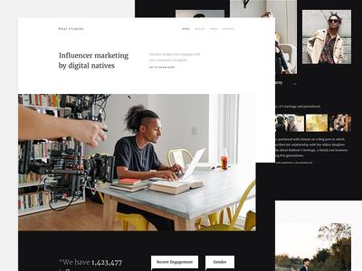 Filli Studios - Homepage typography clean marketing website portfolio agency dark black minimal landing