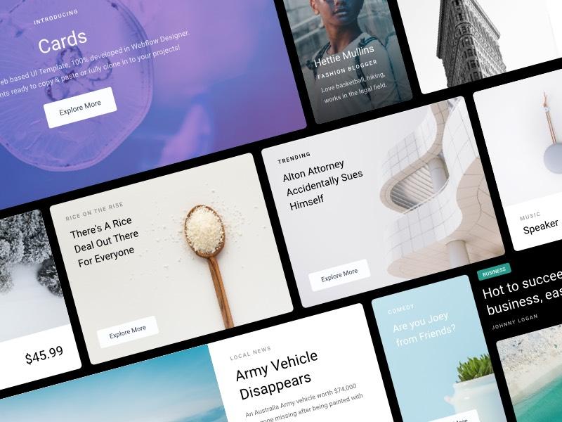Cards - Webflow UI Kit product webflow store website page blog card clean landing profile ui kit