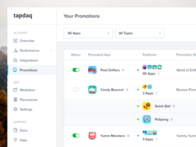 Tapdaq - List of Promotions