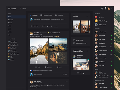 Socialio Dark (Dashboard UI Kit Screen 2)