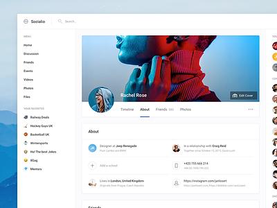 User Profile - Socialio ui kit design apps platform settings cover facebook network social landing web ui profile dashboard