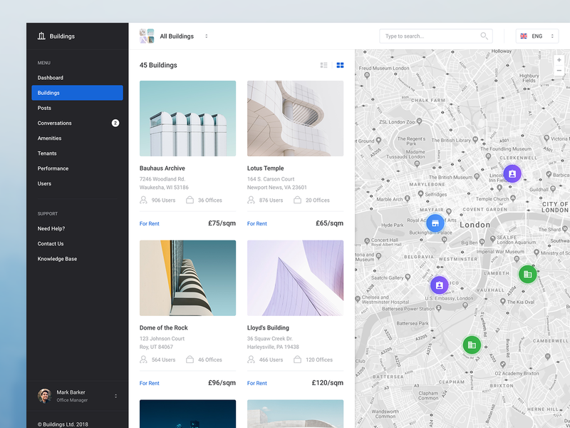 Buildings - Search / Browsing realtime menu dark results search map app airbnb apps web profile dashboard