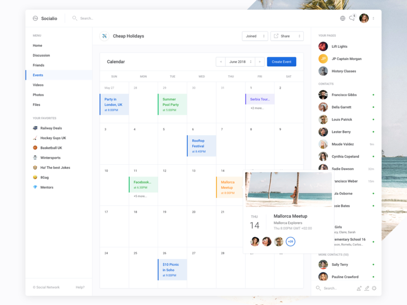 Socialio - Calendar / Events design apps ui clean event calendar web profile dashboard
