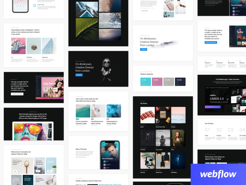Cards 2.0 - Sections Overview hero call to action blog stats code framework product landing dark web webflow ui