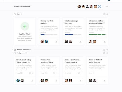 Manage Documentation (Dashboard UI Kit 3.0) clean apps design widgets table web knowledge knowledgebase support ui dashboard