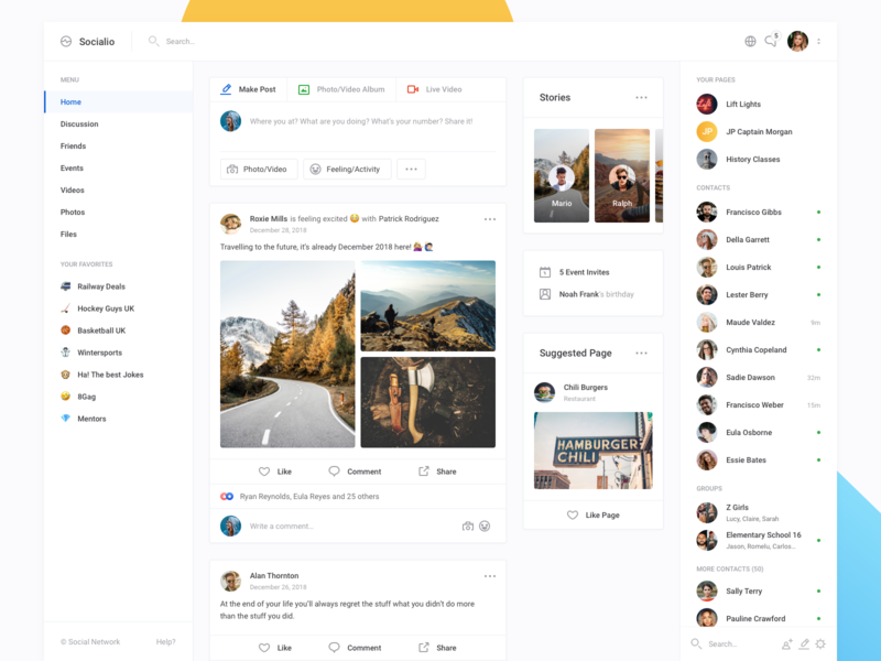 Socialio - Homepage (Dashboard UI Kit 3.0) design apps web clean network social chat timeline feed news feed profile ui dashboard