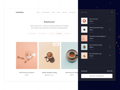 CoffeeStyle - Webflow eCommerce Bēhance eshop contact color bars styleguide landing behance cart ui ecommerce webdesign