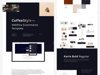 Bēhance Overview - CoffeeStyle Webflow sitemap typography ecommerce cart webdesign web behance case study
