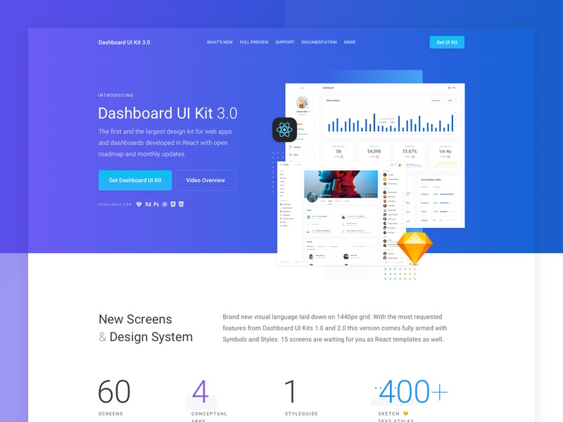 Dashboard UI Kit 3.0 Landing Page WIP marvelapp prototype menu button website profile graphs xd sketch react gradient landing dashboard