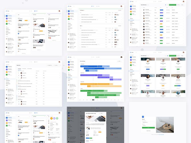 Taskio - All Screens board app dashboard cover progress graph widget card profile app modal overlay popup ui dashboard