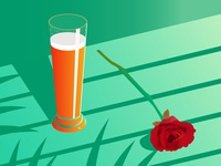 beer and rose