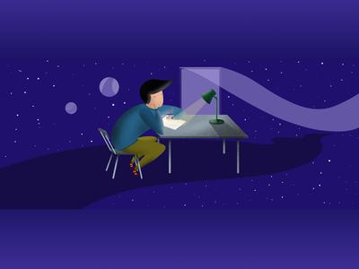 Night room digital art procreate illustrator flat design digital illustration