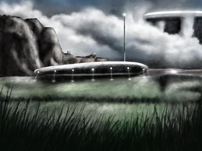 Two men on the hill environment design photoshop digital illustration procreate