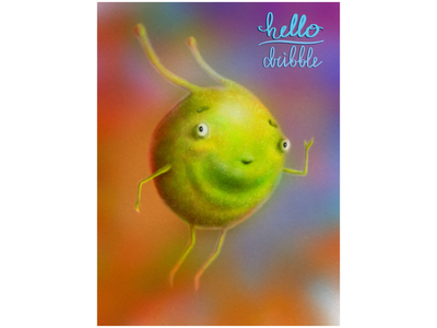 Little green guy character design digital illustration procreate