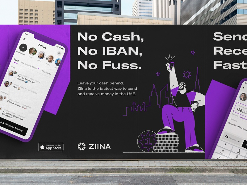 Ziina - Applications illustration billboard app identity icon colors typography brand design payment app logotype logo branding