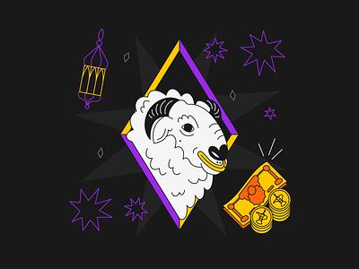 Ziina - Illustrations eid al adha camel sheep cashless app branding payment app social character design illustration