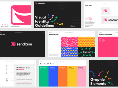 Sendlane - Visual Identity Guidelines pattern scribbles logo brand marketing newsletter branding visual identity guidelines