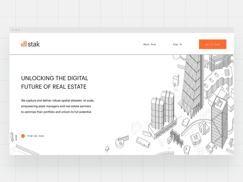 Stak Landing Page Illustration buildings isometric illustration