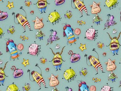 Little Monsters Pattern childrens illustration funny illustration illustration funny character monster pattern art pattern