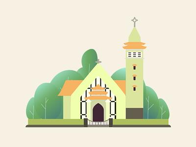 Vung Tau Church vung tau church 2d illustration illustration flat flat  design
