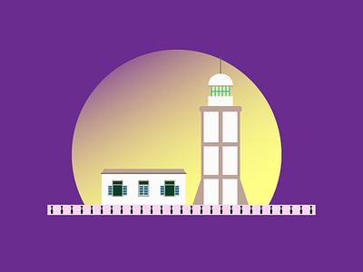 Illustration of Vung Tau Lighthouse flat  design lighthouse illustraion 2d flat