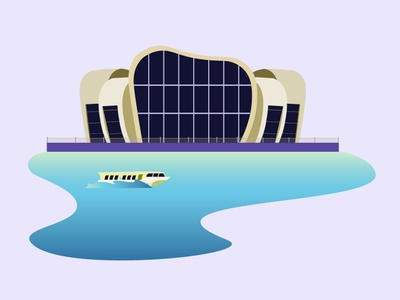 Vung Tau Hydrofoil Station landmark water hydrofoil station flat  design flat 2d illustration 2d illustration