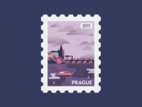 Prague Post Stamp Illustration