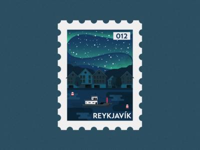 Reykjavík Post Stamp Illustration