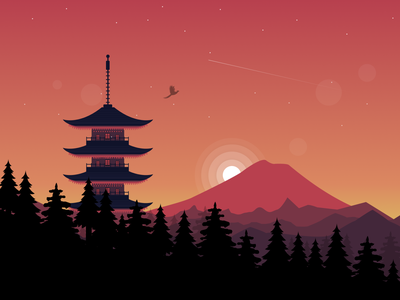 Japan, the land of rising sun - Illustration orange art digital art vector graphic design figma japan illustration