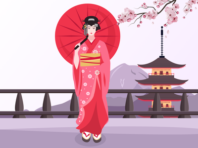 Japanese Geisha Illustration graphic illustration graphic design design 2d flat illustration character illustration geisha japanese geisha japan illustration