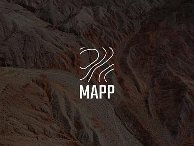 MAPP logo heightmap land land surveyor topography geology graphic design map logo design design logo