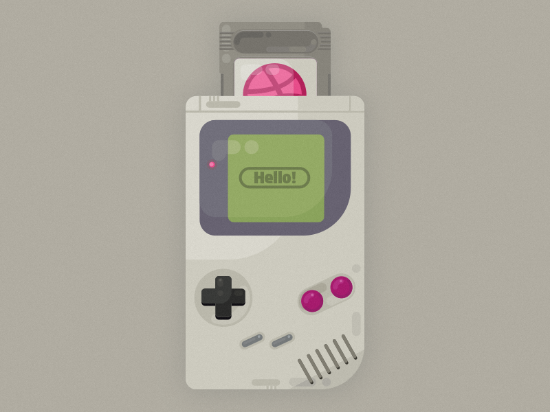 Hello Dribbble arcade illustration oldschool vintage retro nintendo boy gameboy game old hello