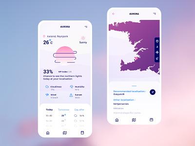 Aurora - Northern Lights design adobe xd user interface design inspiration aurora borealis userinterface mobile app mobile ui mobile app design ui