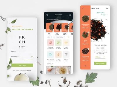 FRSH - The Tea app mobile ui fresh inspiration design ui userinterface foodie food app food tea mood landing page sign up signup mobile app