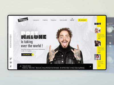 Online Music Magazine photo ui yellow adobe xd webdesign inspiration celebrity web design music website homepage design landing page
