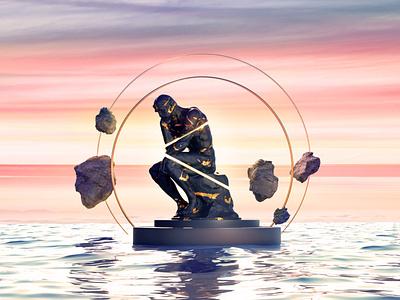 Ocean of Mind contemporary concept cgartist 3d artist philosophy cgart digital illustration design 3d art